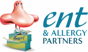 Image of cartoon nose shaped mascot next to the words E N T and Allergy Partners