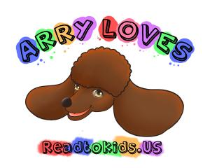 Th Read to Kids US logo is a cartoon headshot of Arry, a red poodle. This is a new non-profit to encourage grandparents to read to kids.