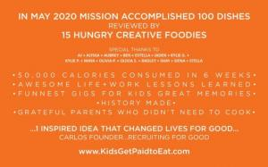 In March 2020, Recruiting for Good created sweet kid community gig 'Kids Get Paid to Eat.' On the gig kids tasted and reviewed 100 dishes in LA. #kidsgetpaidtoeat #goodfoodinthehood www.KidsGetPaidtoEat.com