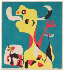 Superb pochoir in colors by Joan Miro titled Femme et Chien devant la Lune, 1936.