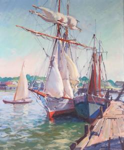 Oil on canvas maritime scene by Emile A. Gruppe.