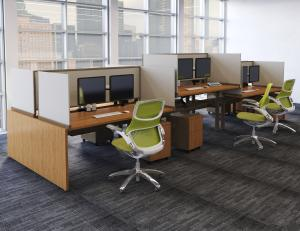 Office cubicles with desks and chairs