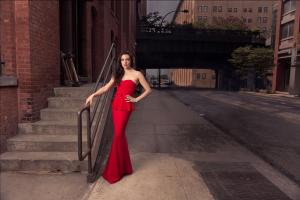 Artist in Long Structured Red Dress