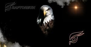 Raptoreum Neon logo, Raptoreum white outline logo and white crested Raptor bird looking forward with black background