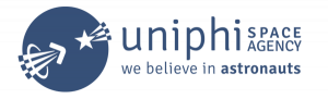official logo for the only Astronaut talent management agency uniphi space agency is blue with a logo that includes a combination of the uniphi logo and an interpretation of an Astronaut symbol