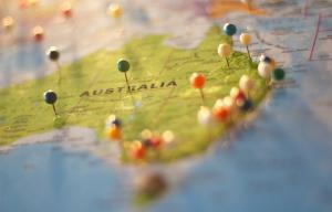 Map of Australia with coloured drawing pins in