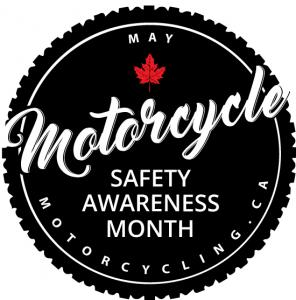 Motorcycle safety Awareness Month Logo, white lettering inside a black circle, with a red maple leaf. Text includes the website domain motorcycling.ca