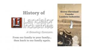 vintage picture of man and child he isn't showing his face with the logo for landalor industries