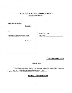 Court Filed Documents Mike Dunston vs. Meredith Corporation