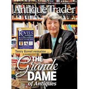 Terry Kovel pictured on the cover of Antique Trader