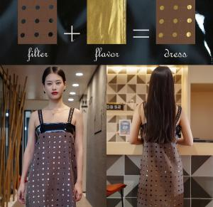The Coffee Percolator ~ Brown holed dress with colorful interchangeable inner layers to kick up your look