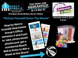 Graphic showing a photo booth and beach photos. Stop by Nancy Kowalik Real Estate Group's Office  between 5 and 9 pm to  take  photo booth photos and  get a numbered Beach Ball to Enter to Win a Week at the Shore!