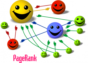 An illustration of smiley faces linking to each other with colored arrows to explain how Google ranks pages.