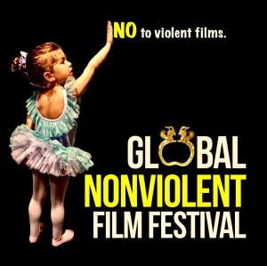 """The logo of Global Nonviolent Film Festival features little girl dressed as a ballerina pointing to the writing """"NO to violent films."""""""