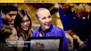 Youth for Human Rights International President Mary Shuttleworth, featured in an episode of Voices for Humanity on the Scientology Network.