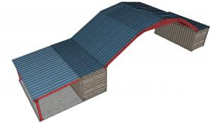 Gambrel shaped roof with awning attached on one side