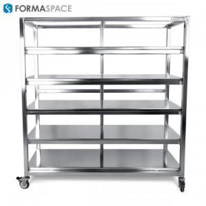 stainless steel mobile cart fixed shelves