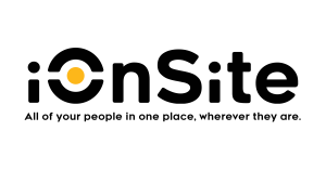 """The iOnSite logo with the software's tagline: """"All of your people in one place, wherever they are."""""""