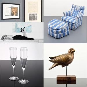 Photo of four items from the Paige Rense Noland estate: signed photos of powerful women, Tiffany champagne glasses for Architectural Digest, a comfortable chair and a bird sculpture.