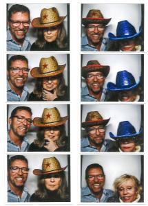 Two strips of photo booth-style photos taken at a Palm Beach party.