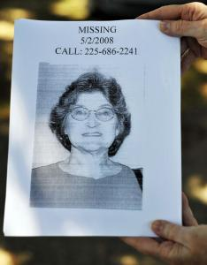 Barbara Blount has been missing since around mid-day on Friday, May 2, 2008, from her home at 35580 Hwy 1036, in Holden, LA.
