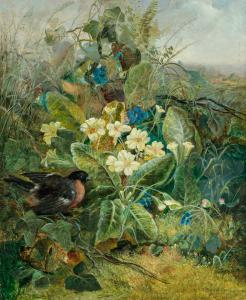 Oil on canvas by Fidelia Bridges (American, 1834-1923), titled Rose Breasted Grosbeak in a Thicket ($80,000)