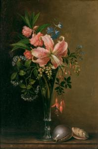 Oil on board by Paul Lacroix (American, 1827-1908), titled Floral Still Life with Shells ($71,500)