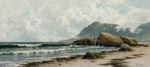 Oil on canvas by Alfred Thompson Bricher (American, 1837-1908), titled Low Tide, Grand Manan Island ($60,000)