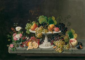Oil on canvas by Severin Roesen (American, 1815-1872), titled Still Life of Fruit with Goblet of Flowers ($60,000)