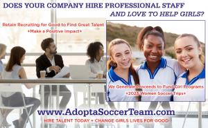 Retain Recruiting for Good to Adopt a Soccer Team and Help Fund Trips to 2023 Women Soccer #2023WomenSoccer www.AdoptaSoccerTeam.com