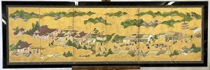 Japanese Kano school six-panel screen in a custom frame. Estimate: $1,000-$2,000.