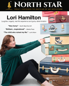 Woman - Lori Hamilton - sitting on floor pulling on suitcases with show North Star logo and press reviews