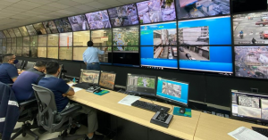 This picture shows the Corporation for Citizen Security of Guayaquil's (CSCG) control room with the Aureus face recognition software in use.