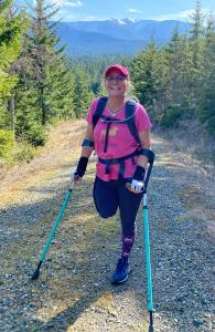 Amputee and aspiring marathoner Dana Lawson on a training hike in Olympic National Park