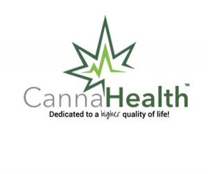 """The logo of CannaHealth, a green leaf with the company name, and tagline """"dedicated to a higher quality of life"""".(https://gocannahealth.com)"""