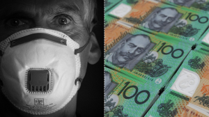 Image of respirator mask and cash illustrating link between COVID and physical cash