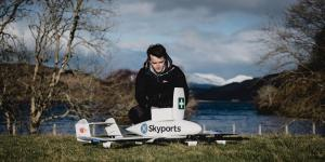 A Skyports engineer prepares a Skyports drone for a medical delivery flight.
