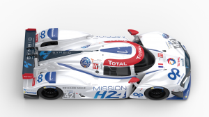 Top angle view of the MissionH24 race car