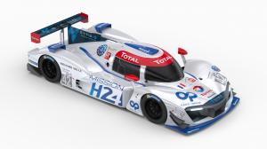 Three-quarter front view of the MissionH24 race car