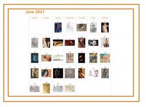 June 2021 Art of the Day Calendar from Barebrush.com