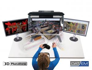 The dual-screen, passive stereo 3D PluraView systems are 100% compatible to all DAT/EM products, including the flagship Summit Evolution Professional digital stereoplotter.
