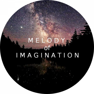 Melody of Imagination company logo against pine trees that are set amongst the bright stars.