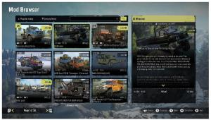 An image of the modding browser in SnowRunner