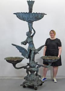 Early 20th century bronze Art Nouveau three-basin fountain, 92 inches tall by 62 ½ inches wide. Estimate: $2,000-$3,000.