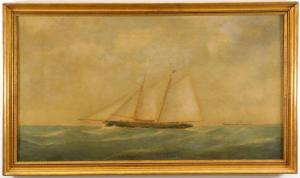Oil on canvas maritime ship painting attributed to Thomas Buttersworth (English, 1768-1842). Estimate: $1,000-$2,000.