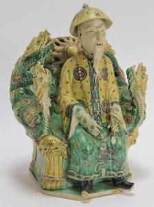19th century Chinese porcelain Sancai statue of a seated bearded man (or emperor). Estimate: $1,000-$2,000.