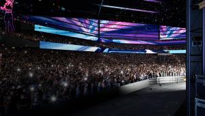 Huge concert virtual crowd inside Moshpit arena.