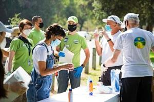 Volunteers gathered near the Los Angeles Zoo to begin the cleanup.