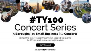 I Love NYC SMB #TY100 Concert Series Artists, Boroughs Graphic Mashup
