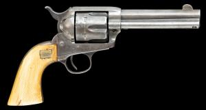 Colt single-action Army revolver with one-piece ivory grips made in 1895, originally owned by O. Frank Hicks, an Arizona Ranger. Estimate: $20,000-$25,000.